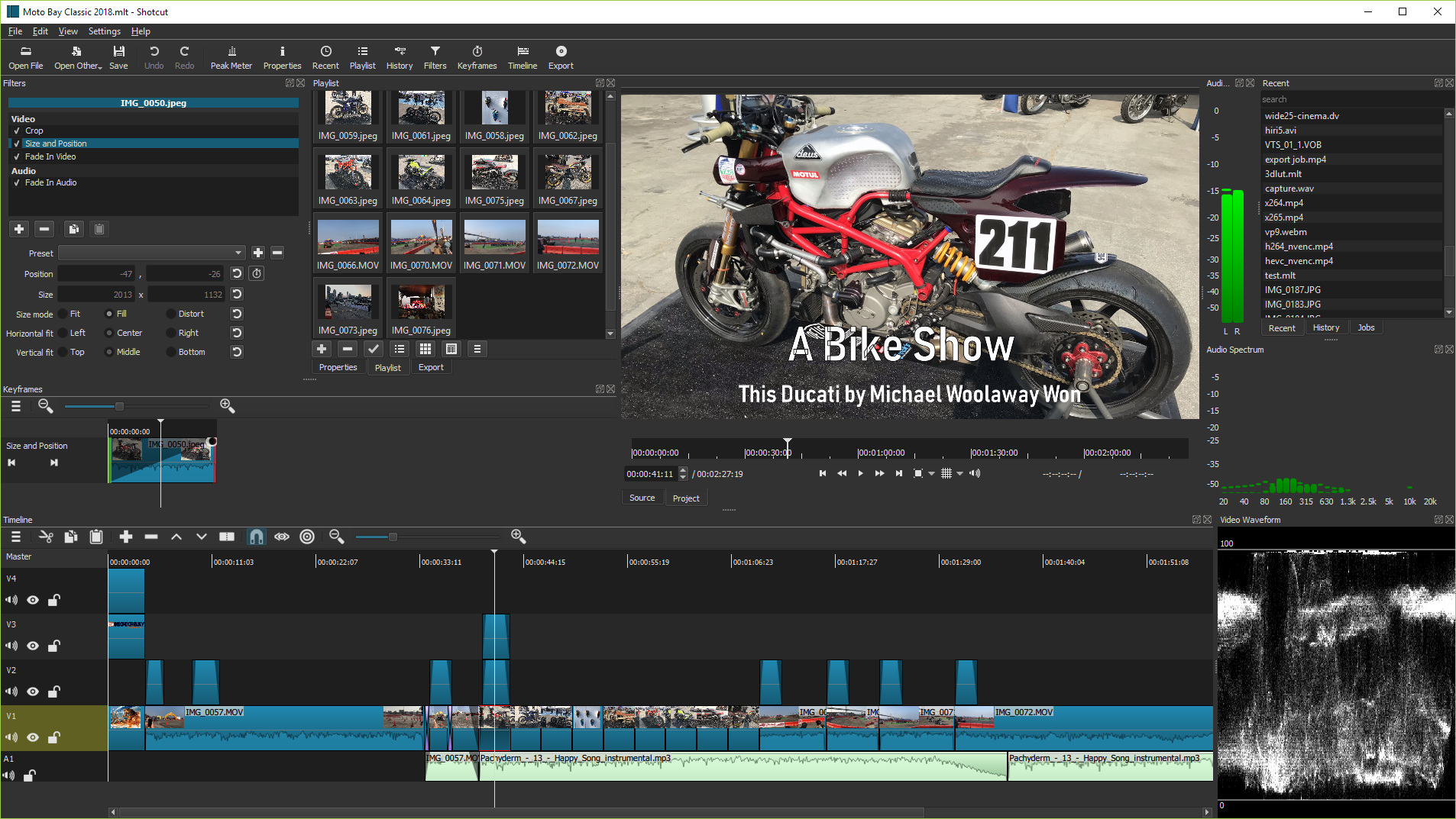 Shotcut is a free, open source, cross-platform video editor. - Added an Advanced mode to the Properties > Convert to Edit-friendly dialog with: Added detection of a HDR transfer function (ITU-R BT.2020 or SMPTE ST2084) to automatically show Convert dialog. Added Convert to BT.709 colorspace that provides HDR-to-SDR tone mapping! This helps a lot of people who are recording games in HDR and were surpised by the poor colors when editing in Shotcut. Added Deinterlace option (bwdif) that outputs one frame for each field. Added Override frame rate and Frame rate conversion with Blend and Motion Compensation options. (Please be aware that Motion Compensation is very slow and that is not a bug.) Added Use Higher Performance Waveforms to Timeline and Keyframes menus (default on). Added a red outline around the thumnbail of the currently opened Playlist item. Added video filter Reduce Noise: Quantization. Added Color space and Color transfer to Properties > Video.