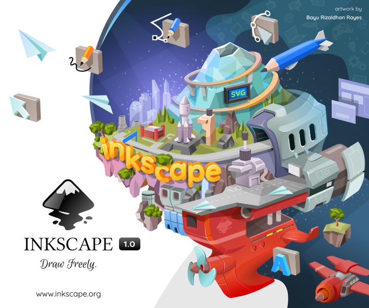 Inkscape is a Free and open source vector graphics editor for GNU/Linux, Windows and MacOS X. It offers a rich set of features and is widely used for both artistic and technical illustrations such as cartoons, clip art, logos, typography, diagramming and flowcharting. It uses vector graphics to allow for sharp printouts and renderings at unlimited resolution and is not bound to a fixed number of pixels like raster graphics. Inkscape uses the standardized SVG file format as its main format, which is supported by many other applications including web browsers.