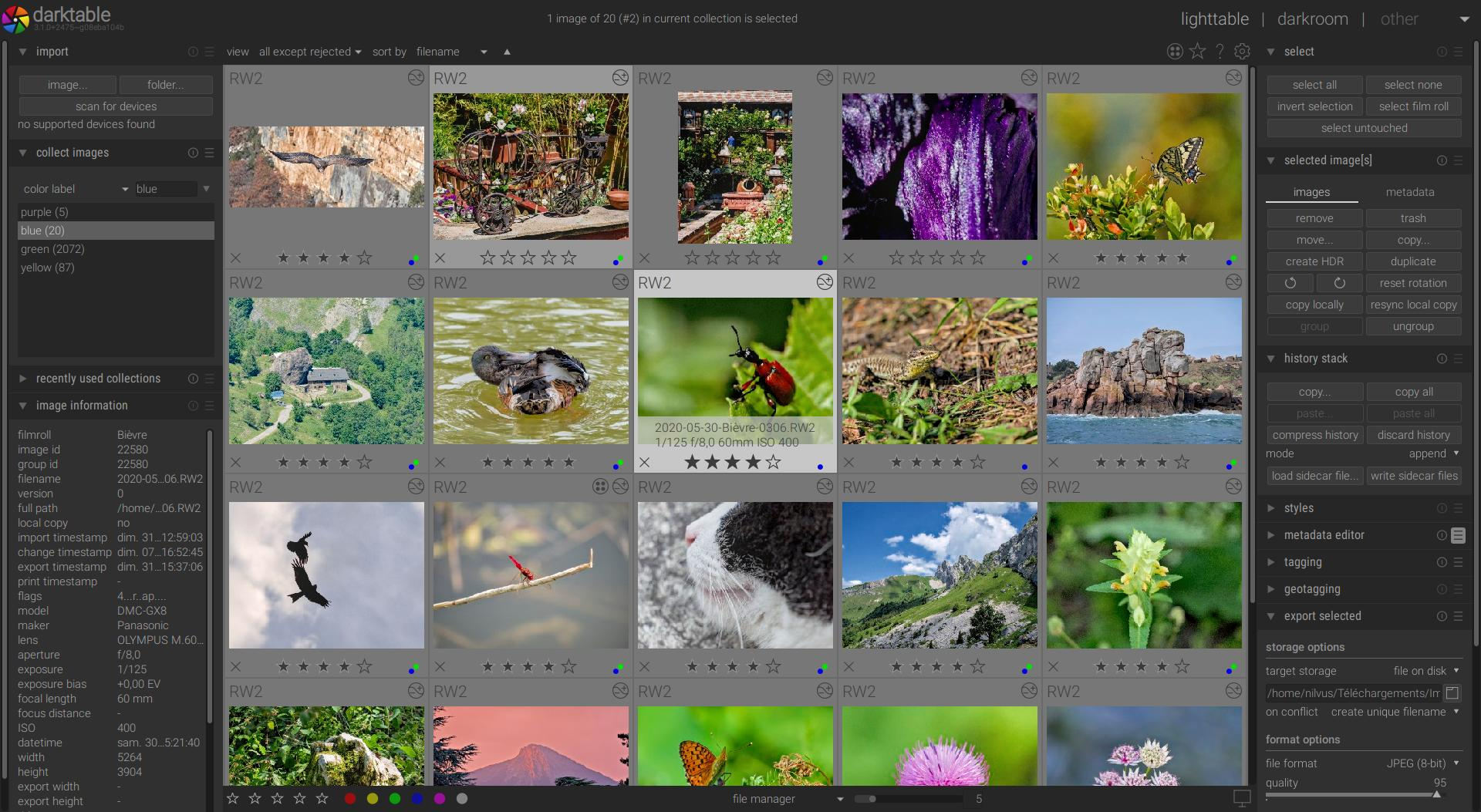 Darktable is an open source photography workflow application and raw developer. A virtual lighttable and darkroom for photographers. It manages your digital negatives in a database, lets you view them through a zoomable lighttable and enables you to develop raw images and enhance them.